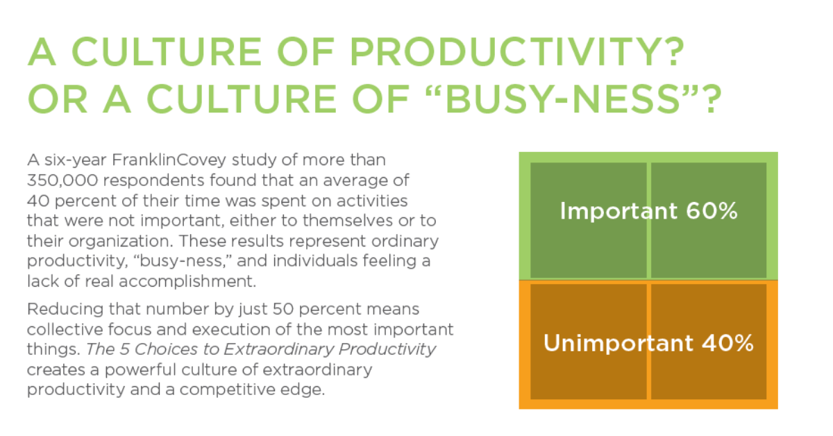 5 Choices - A Culture of Productivity or Busy-Ness